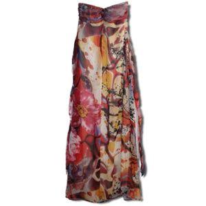(M) Multi-Pattern Colorful Strapless Dress